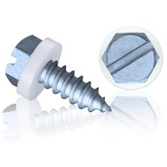 A2, Slide Coated Slotted Hex Head Self-Tapping Screw (Polyamide Washer)