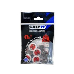 GripIt 18mm Plasterboard Fixings - 8 Pack