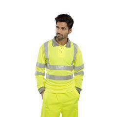 Hi Vis Yellow Long Sleeve Polo Shirt
