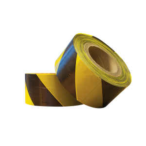 Black and yellow barrier tape