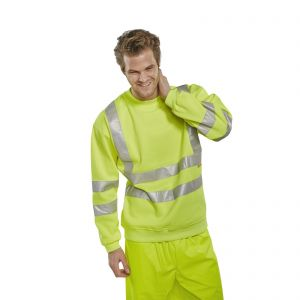 Hi Vis Yellow Sweatshirt, sml, med, lrg, xl, xxl, xxxl,